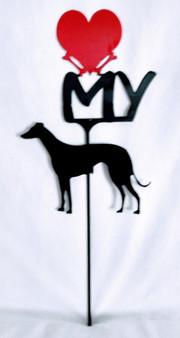 Greyhound Love(heart) Yard Sign Metal Silhouette