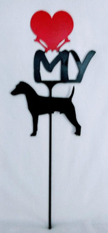 Jack Russell Love(heart) Yard Sign Metal Silhouette