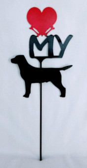 Labrador Retriever Love(heart) Yard Sign Metal Silhouette