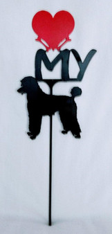 Poodle Love(heart) Yard Sign Metal Silhouette