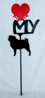 Pug Love(heart) Yard Sign Metal Silhouette