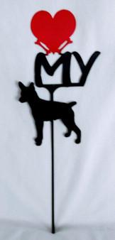 Rat Terrier Love(heart) Yard Sign Metal Silhouette
