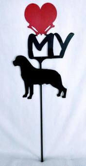 Rottweiler Love(heart) Yard Sign Metal Silhouette