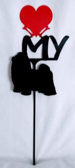 Shih Tzu Love(heart) Yard Sign Metal Silhouette