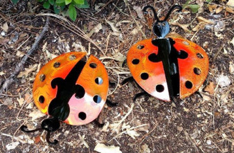 Set of 2 Black and Red Handcrafted Metal Ladybug Garden Art