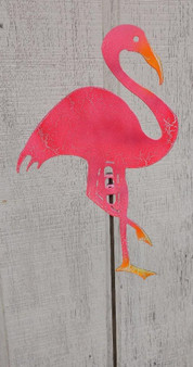 Handcrafted Metal Yard Art Pink Flamingo Garden Stake