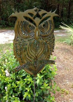 Handcrafted Plasma cut Metal Yard Art Owl Garden Stake