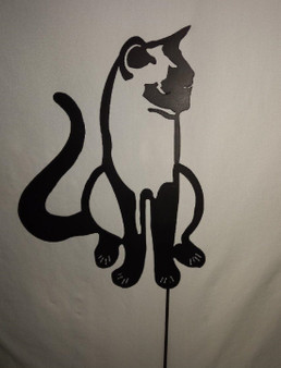 Handcrafted Metal Yard Art Black Cat Silhouette Garden Stake
