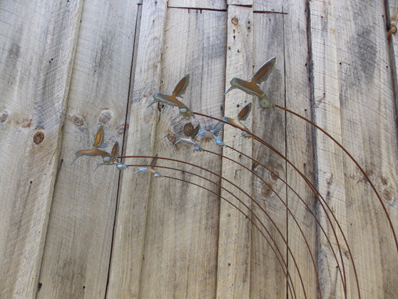 Metal Yard Art Hummingbird sculputre with flock of 8 Hummingbirds by The Lazy Scroll