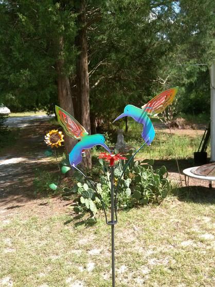 Handcrafted Metal Kinetic Garden Sculpture 2 Painted Hummingbirds