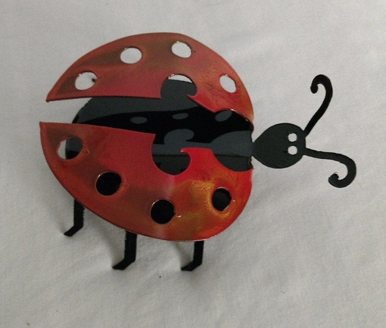Set of 2 Black and Red Handcrafted Metal Ladybug Garden Art