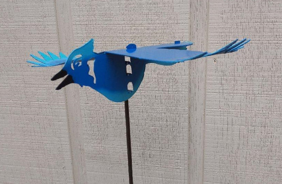 Handcrafted Kinetic Metal Yard Art Bluebird Garden Stake