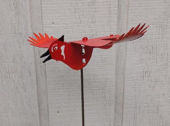 Handcrafted Kinetic Metal Yard Art  Cardinal Red Bird Garden Stake