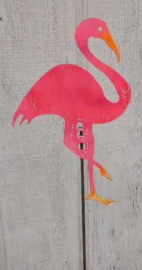 Handcrafted Metal Yard Art Pink Flamingo Garden Stake