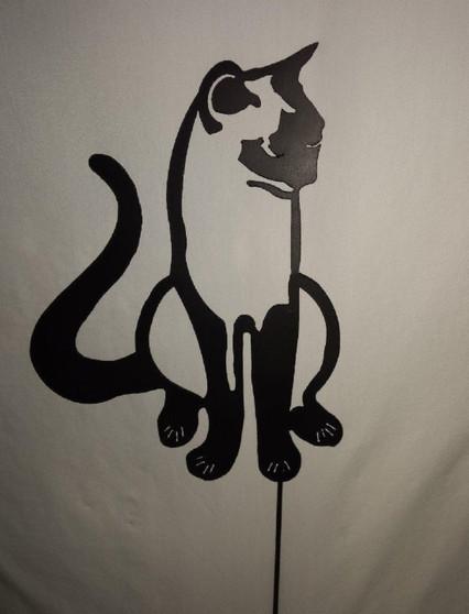 Handcrafted Metal Yard Art Black Cat Silhouette Garden Stake