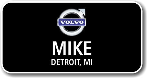 Volvo Black Rectangle Name Badge