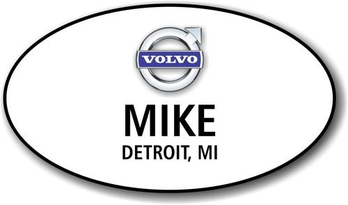 Volvo White Oval Name Badge