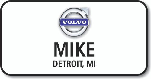 Volvo White Rectangle Name Badge