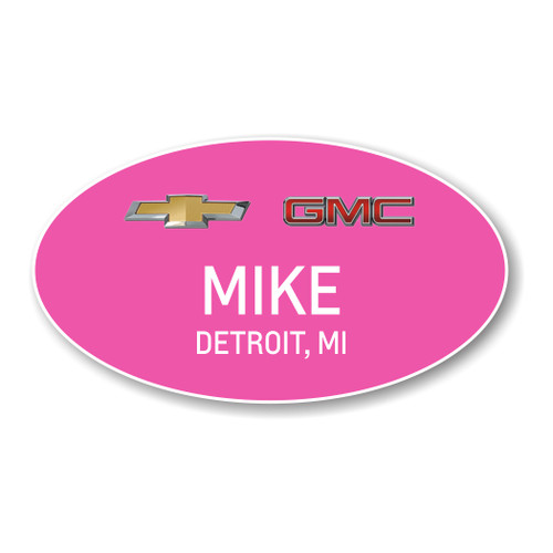 Chevrolet GMC Pink Oval Name Badge