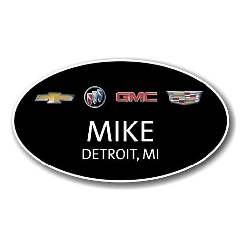GM 4 Brand Black Oval Name Badge