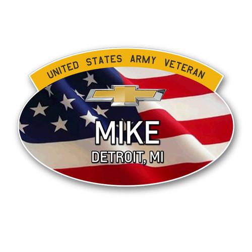 Chevrolet Veteran USA Flag Oval Name Badges