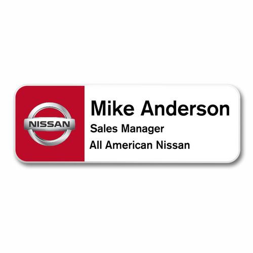 Nissan White/Red Name Badge