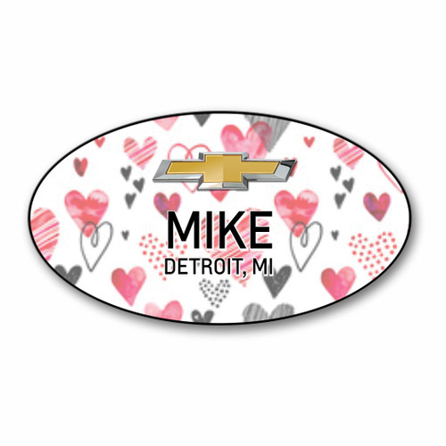 Valentine Oval Name Badge 002