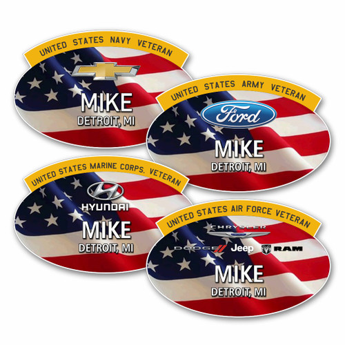 Military Veterans USA Flag Recognition Name Badge