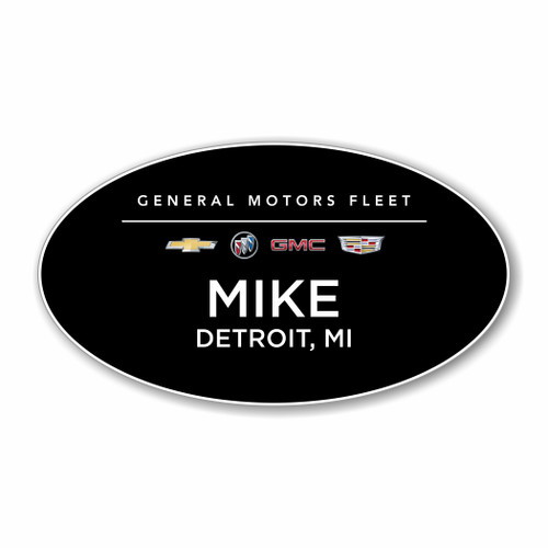 GM Fleet and Commercial Black Oval Name Badge