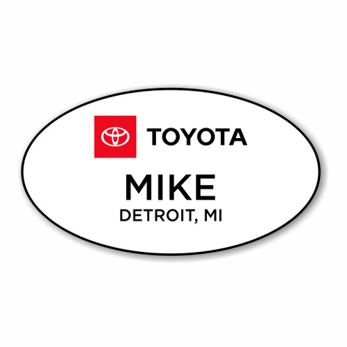 Full Logo Toyota White Oval Name Badge
