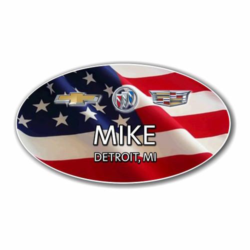 Chevy Buick Cadillac USA Flag Oval Name Badge