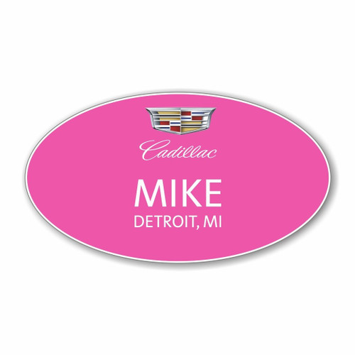 Cadillac Pink Oval Name Badge