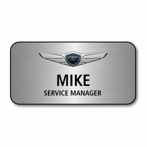 "Genesis Silver 3"" x 1.5"" Name Badge"