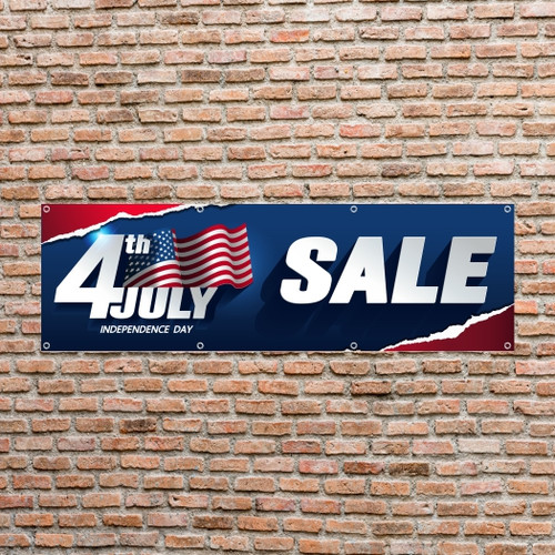 """4th of July 96"""" x 30"""" Banner"""