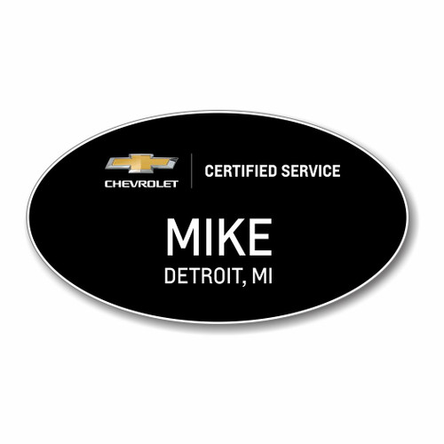 Chevrolet Certified Service Black Oval Name Badge