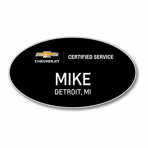 Chevrolet Certified Service Black Oval Name Badge