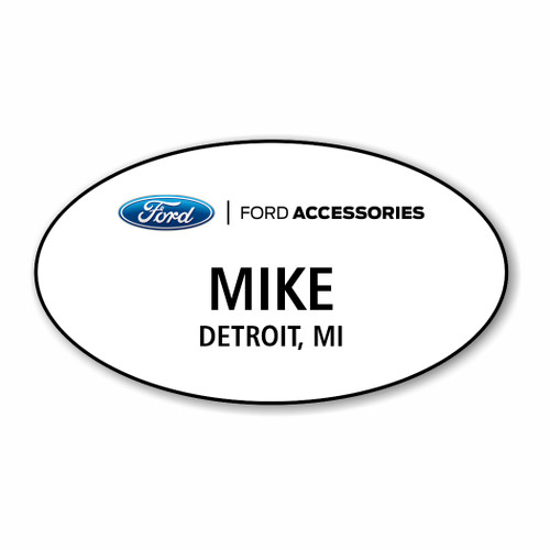 Ford Accessories White Oval Name Badge