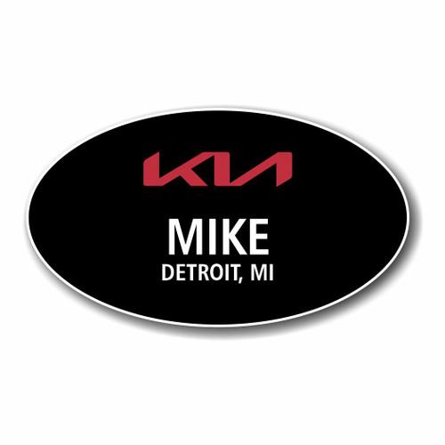 Kia - New Logo 2021 -  Black Oval Name Badge
