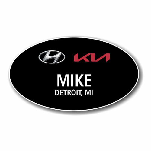 Hyundai Kia Black Oval Name Badge