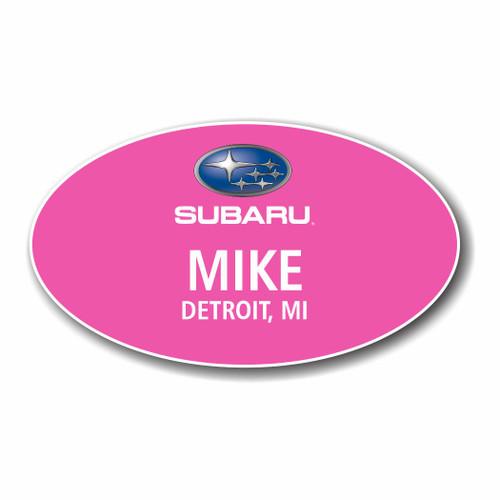 Subaru PInk Oval Name Badge