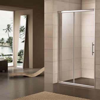 "59"" Sliding Shower Door in Tempered Glass"