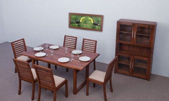Dili Dining Table Set in Brown