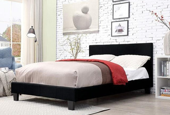 Sims Twin Upholstered Bed Frame in Black