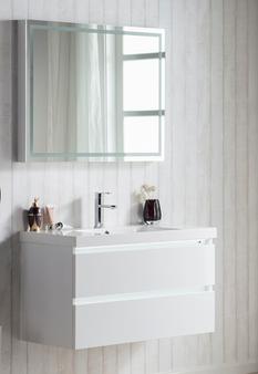 """MU900 36"""" Wall Hung Vanity in White"""