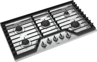 """Whirlpool 36"""" Gas Cooktop with Cast-iron Grates in Stainless"""
