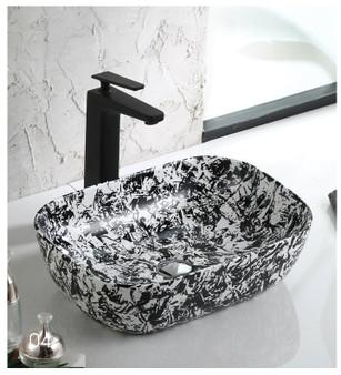 Countertop Art Vessel in Black and White