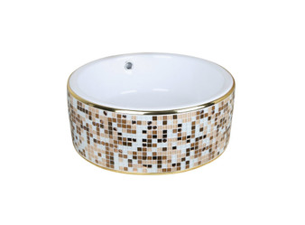 Countertop Art Vessel in Beige Mosaic and White