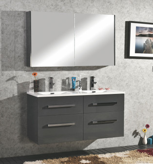 "48"" Double Wall Hung Vanity with Mirror in Gray"