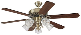 "52"" Ceiling Fan with Light Kit in Antique Brass"