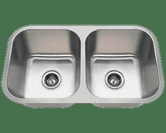 "32"" Undermount Kitchen Double Sink in Stainless Steel"
